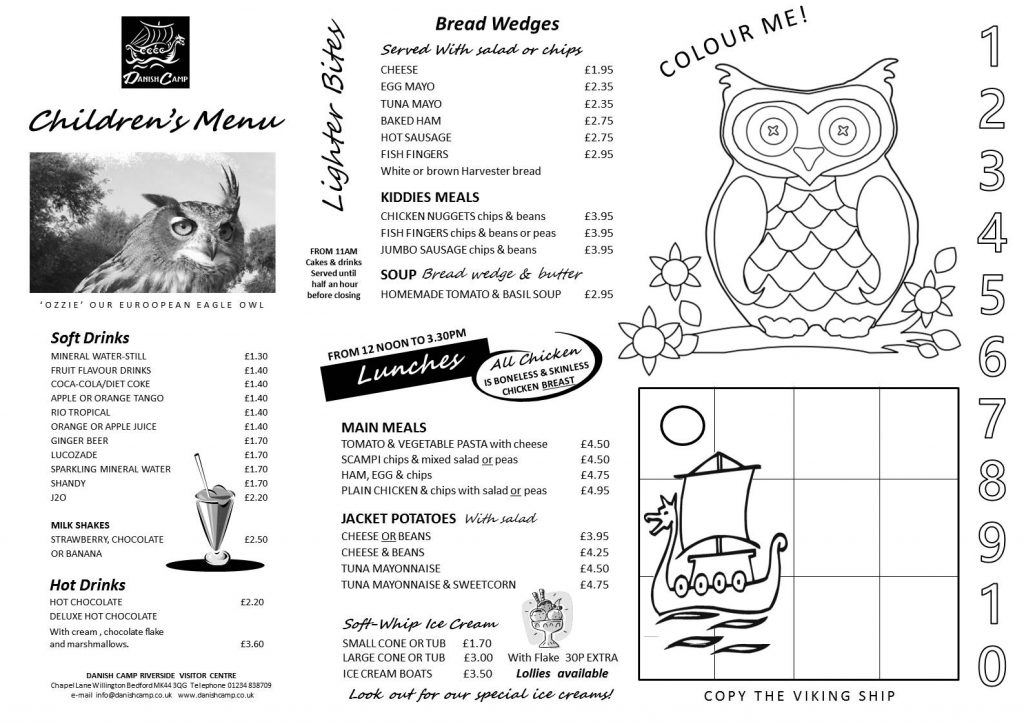 KIDDIES DAY MENU 2016 TO COLOUR
